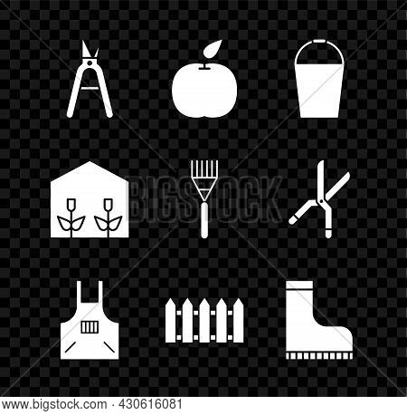 Set Gardening Handmade Scissors, Apple, Bucket, Kitchen Apron, Fence Wooden, Waterproof Rubber Boot,