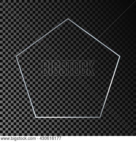 Silver Glowing Pentagon Shape Frame Isolated On Dark Transparent Background. Shiny Frame With Glowin