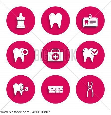 Set First Aid Kit, Teeth With Braces, Dental Pliers, Tooth Whitening Concept, Calcium For Tooth, Id
