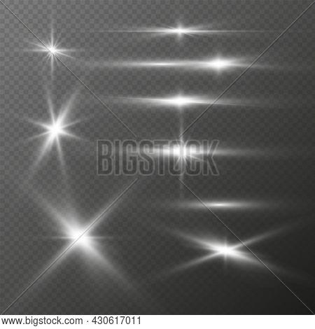 Realistic Light Glares Set. Silver Glitter Shining Stars, Lighting Effects Of Flash, Bright Flares