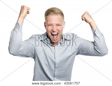 Successful businessman shouting with arms up suggesting his fulfillment, isolated on white background.