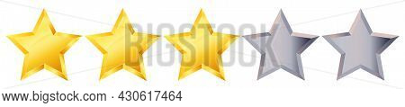 Three 3 Star Rank Sign. Glossy Golden Star Sticker Icon Rating Isolated On White Background. 3d Thre