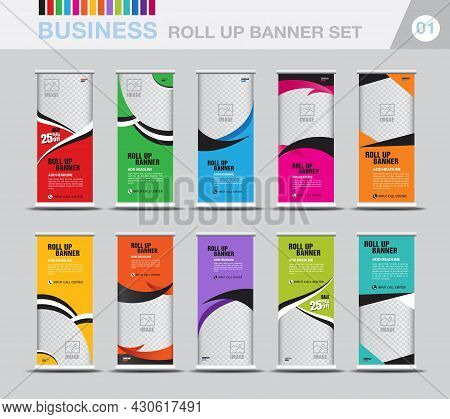 Business Roll Up Banner Template Set, Modern Exhibition Advertising, Web Banner, Banner Design, Stan