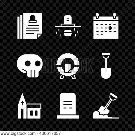 Set Death Certificate, Grave With Coffin, Calendar Death, Church Building, Tombstone, Shovel The Gro