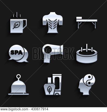 Set Hair Dryer, Ointment Cream Tube, Yin Yang, Swimming Pool With Ladder, Sauna Hat, Spa Salon, Mass