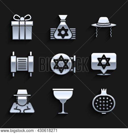 Set Jewish Synagogue, Goblet, Pomegranate, Star Of David, Orthodox Jewish Hat, Torah Scroll, And Gif