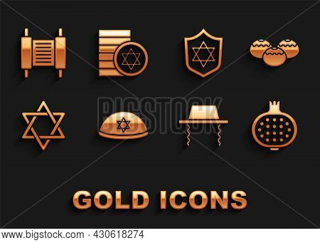 Set Jewish Kippah, Sweet Bakery, Pomegranate, Orthodox Jewish Hat, Star Of David, Shield With, Torah