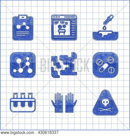 Set Gaseous, Medical Rubber Gloves, Triangle Warning Toxic, Medicine Pill Or Tablet, Test Tube And F