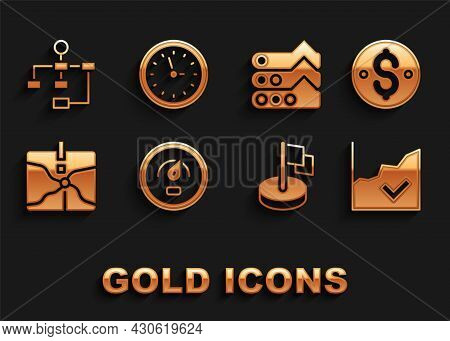 Set Digital Speed Meter, Dollar Symbol, Financial Growth Increase, Flag, Intersection Point, Graph,