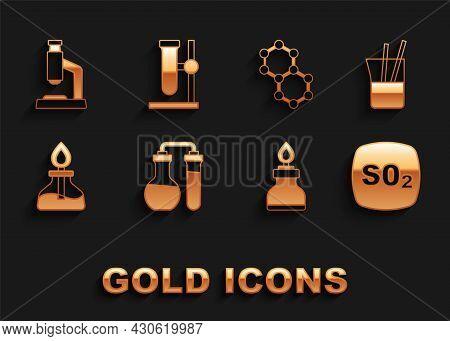 Set Test Tube, Laboratory Glassware, Sulfur Dioxide So2, Alcohol Spirit Burner, Molecule, Microscope