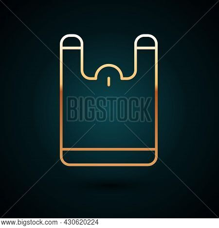Gold Line Plastic Bag Icon Isolated On Dark Blue Background. Disposable Cellophane And Polythene Pac