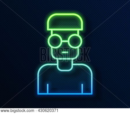 Glowing Neon Line Nerd Geek Icon Isolated On Blue Background. Vector