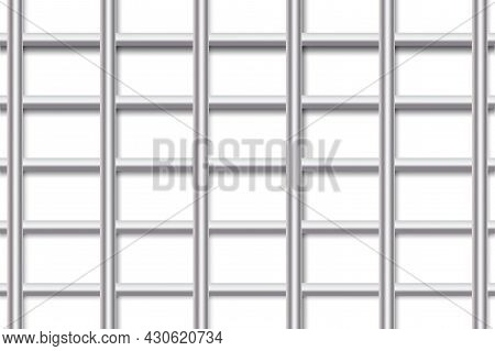 Realistic Metal Rods Lattice For Fabric Design. Protection Icon. Metal Grill. Security Icon. Vector