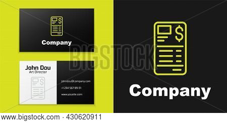 Logotype Line Paper Or Financial Check Icon Isolated On Black Background. Paper Print Check, Shop Re