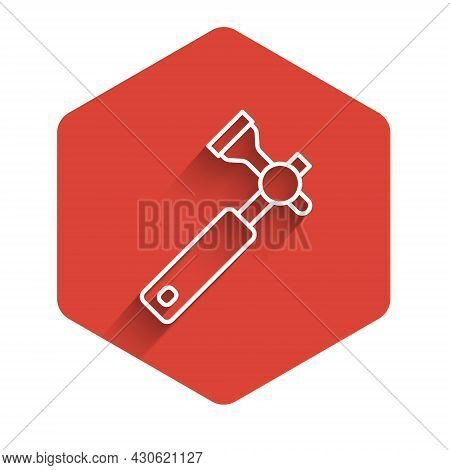 White Line Jewelers Lupe For Diamond Grading With Dimond Icon Isolated With Long Shadow Background.
