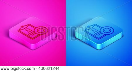 Isometric Line Medical Clipboard With Clinical Record Icon Isolated On Pink And Blue Background. Pre
