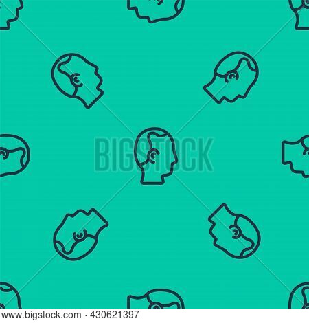 Blue Line Baldness Icon Isolated Seamless Pattern On Green Background. Alopecia. Vector