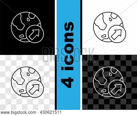 Set Line Financial Growth Increase Icon Isolated On Black And White, Transparent Background. Increas
