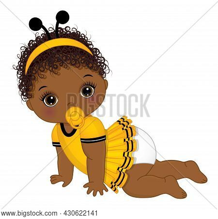 Vector Cute Little African American Baby Girl With Pacifier Wearing Bee Antenna Headband Crawling. L