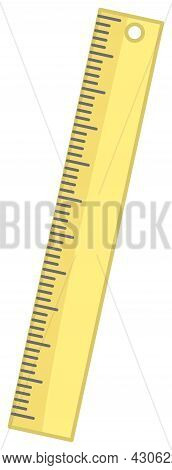 Vector Ruler In Pastel Yellow Colour. Vector Ruler. Yellow Ruler Vector Illustration