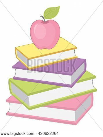 Vector Stack Of Books In Pastel Colors With Apple On The Top. Vector Books. Pile Of Books Vector Ill