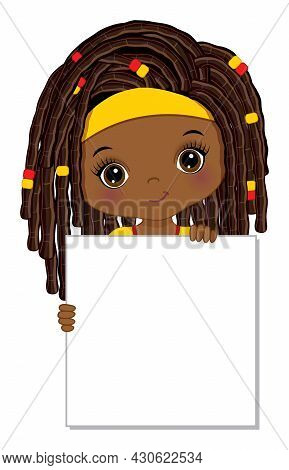 Cute African American Girl Holding Blank Frame To Customise Your Text. Little Afro Girl With Dreadlo