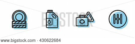 Set Line First Aid Kit And Warning Triangle, Car Tire Wheel, Canister For Motor Oil And Gear Shifter