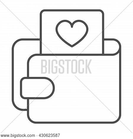 Wallet And Card With Heart Thin Line Icon, Dating Concept, Purse With Picture Of Heart Vector Sign O