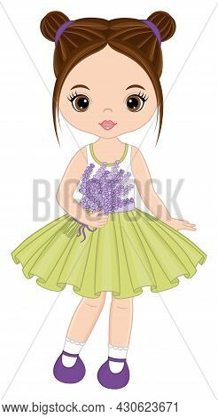 Beautiful Girl Wearing Pastel Mint Dress Holding Bunch Of Lavender. Cute Girl Is Brunette With Hazel