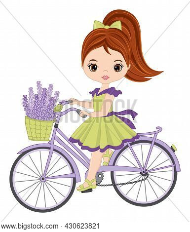 Beautiful Girl Wearing Pastel Mint Dress Riding Bicycle With Basket Of Lavender. Cute Girl Is Redhea