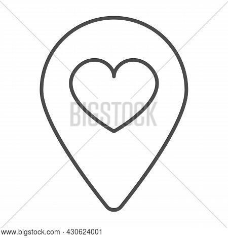 Location Map Pin With Heart Thin Line Icon, Dating Concept, Favourite Place Vector Sign On White Bac