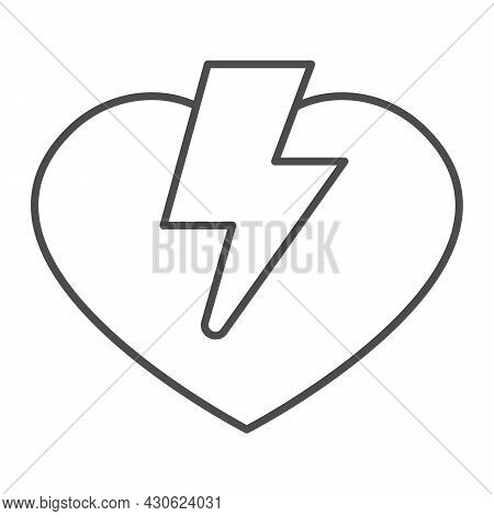 Heart And Lightning Thin Line Icon, Dating Concept, Love Thunder Vector Sign On White Background, Ou