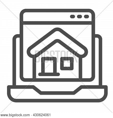 Laptop, Homepage, Computer Window, House, Website Line Icon, Ui Concept, Home Page Vector Sign On Wh