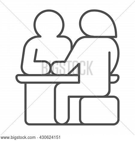 Couple Sitting At The Table, Date Thin Line Icon, Dating Concept, Man And Woman Dating Vector Sign O