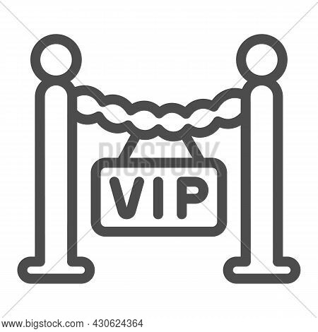 Fencing, Barrier, Only For Vip Guest Line Icon, Celebrity Concept, Vip Zone Stanchion Vector Sign On