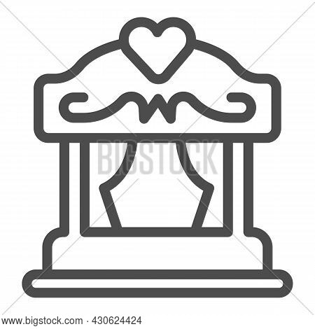 Portable Puppet Theater With Curtains And Heart Line Icon, Theater Concept, Stage Vector Sign On Whi