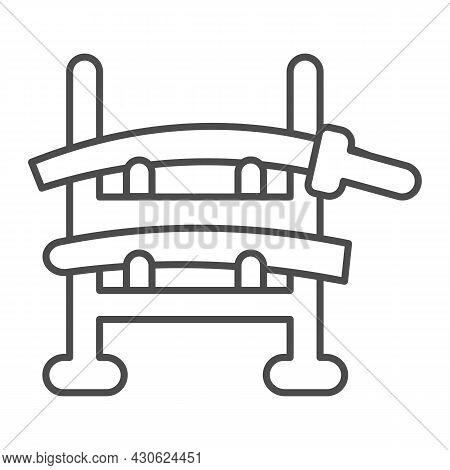 Wooden Samurai Sword Holder Katana Rack Thin Line Icon, Asian Culture Concept, Sword Stand Vector Si