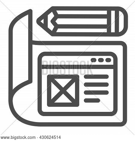 Paper With Website Project And Pencil Line Icon, Web Design Concept, Site Developing Vector Sign On