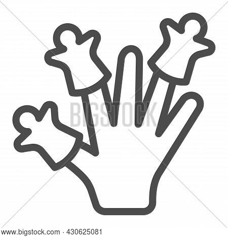 Hand Wearing Finger Puppets Line Icon, Theater Concept, Puppet Theatre Vector Sign On White Backgrou