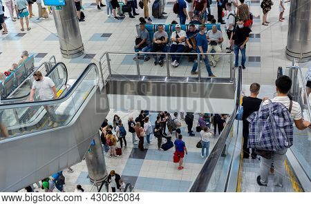 Moscow, Russia, Airport Domodedovo - July 19, 2021: Escalator In The Airport. Travel Concept