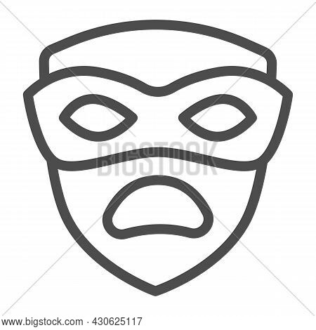 Carnival Mask, Tragedy Mask, Sad Face Line Icon, Masquerade Concept, Drama Masque Vector Sign On Whi