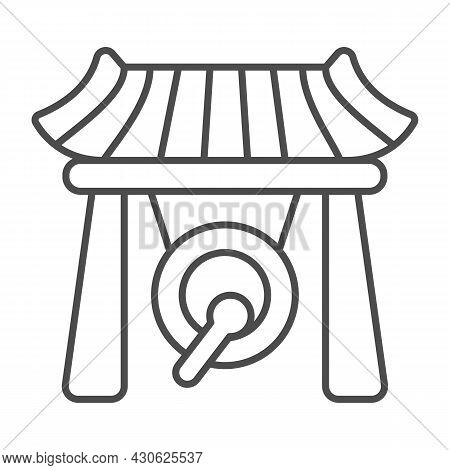 Japanese Gazebo, Gong And Wooden Roof Thin Line Icon, Architecture Concept, Asian Povilion Vector Si