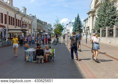 Kazan, Russia, Bauman Street - July 20, 2021: Main Pedestrian Street Of Kazan, Bauman Street