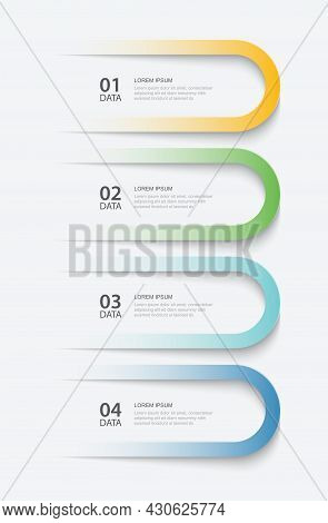 4 Data Infographics Tab Paper Index Template. Vector Illustration Abstract Background. Can Be Used F