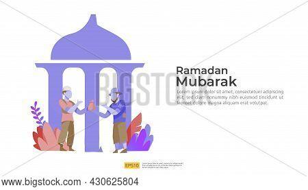 Happy Ramadan Mubarak And Islamic Eid Fitr Or Adha Flat Design Greeting Concept With People Characte
