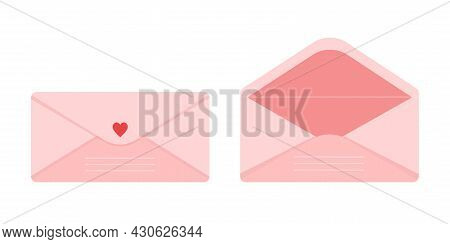 Set Of Open And Closed Pink Envelope Decorated With Heart. Cute Love Letter Post Mail Vector Illustr