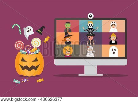 Halloween Party Video Conference On Computer Display. Kids In Horror Costumes On Pc Screen. Vector I