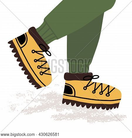 A Persons Legs In The Tourist Or Track Boots And Sportive Joggers. World Tourism Day. Active Sport,