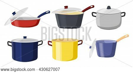 Pots And Pans With Lids. Realistic Stickers With Cooking Utensils. Design Elements For Posters And B