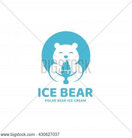 Ice Bear Ice Cream Cone With Polar Bear Mascot Logo Icon Template